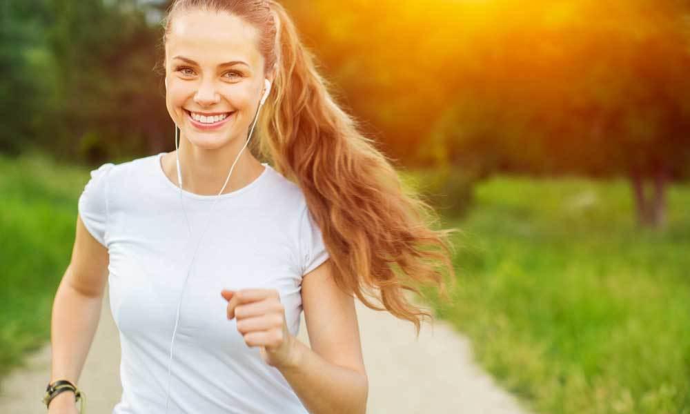 Blonde girl running