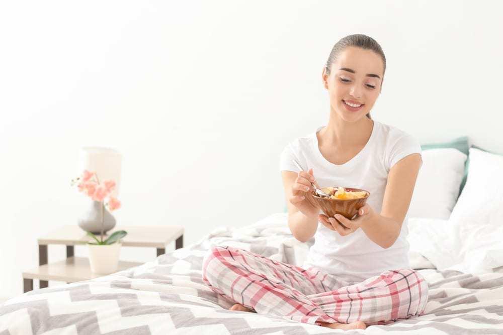 Girl taking breakfast
