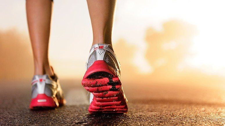 Girl running foots