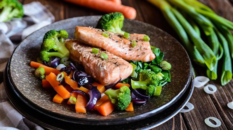 salmon and broccoli